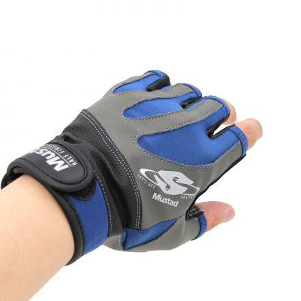 Mustad GL004 Half Finger Glove - Black/Grey/Blue